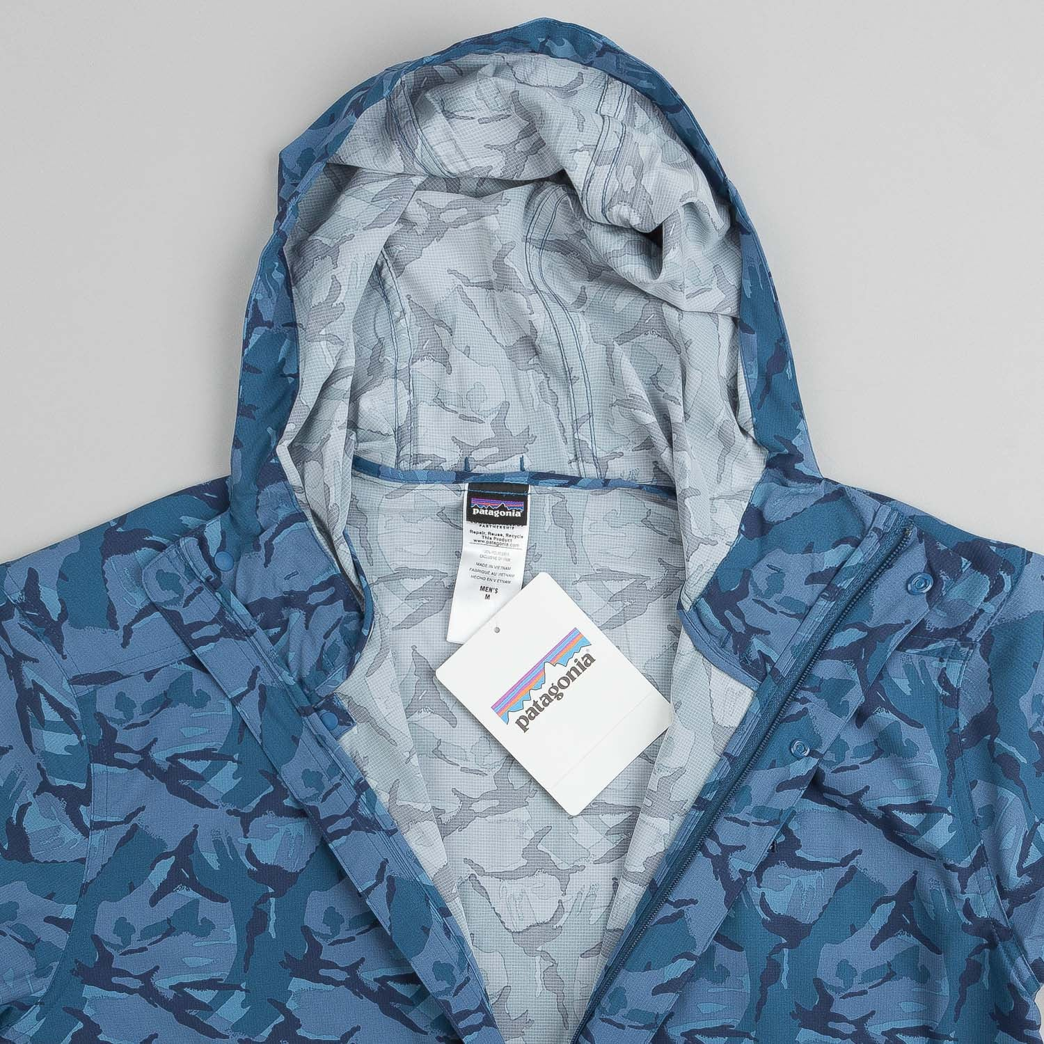 Patagonia Stretch Terre Planing Pullover Jacket - Painted Camo Glass Blue