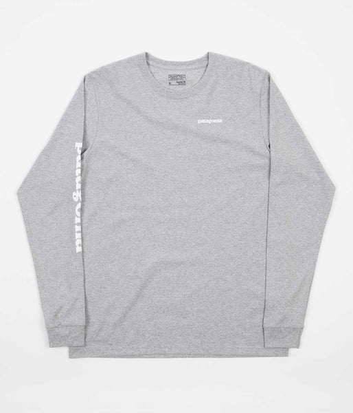 Patagonia Text Logo Long Sleeve T-Shirt - Drifter Grey