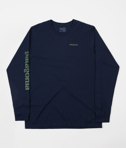 Patagonia Text Logo Long Sleeve T-Shirt - Navy Blue