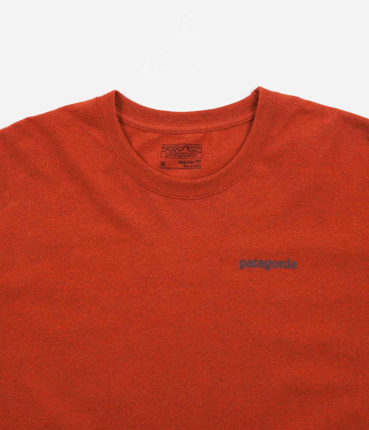Patagonia Text Logo Long Sleeve T-Shirt - Roots Red