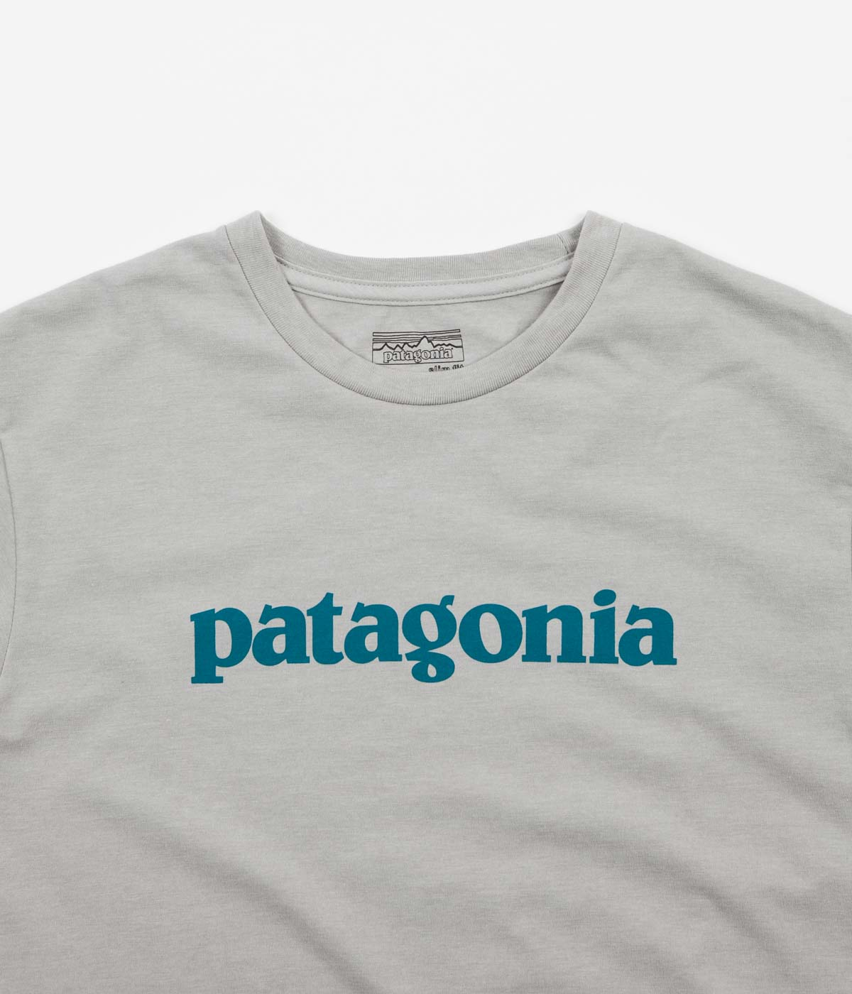 Patagonia Text Logo T-Shirt - Drifter Grey / Elwha Blue
