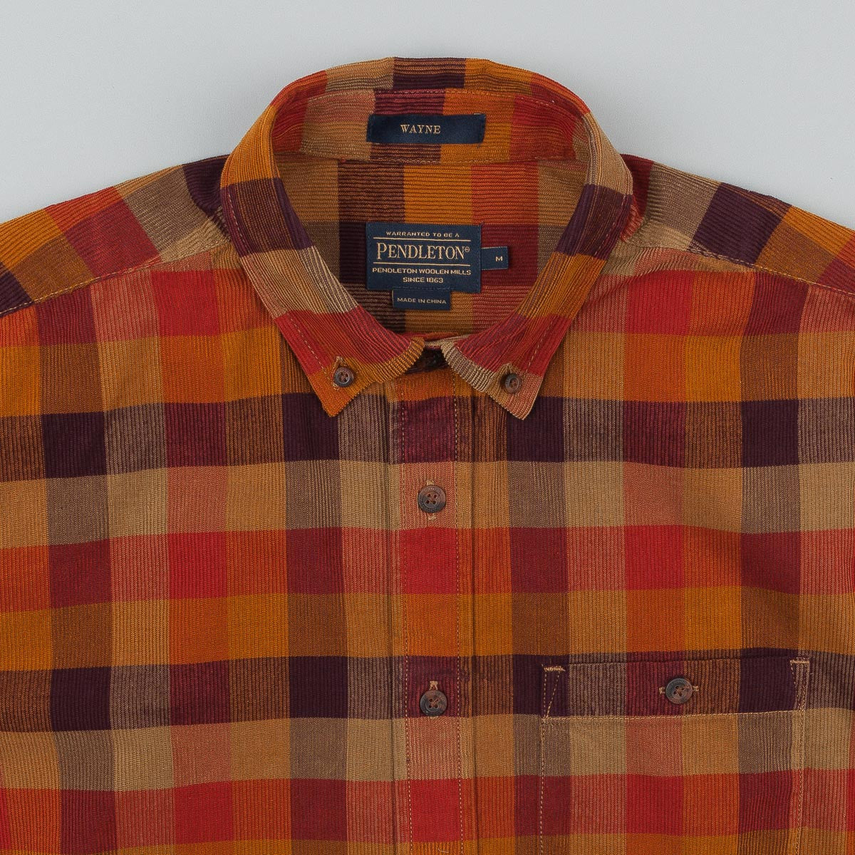 Pendleton Wayne Button Down Waled Shirt - Tan