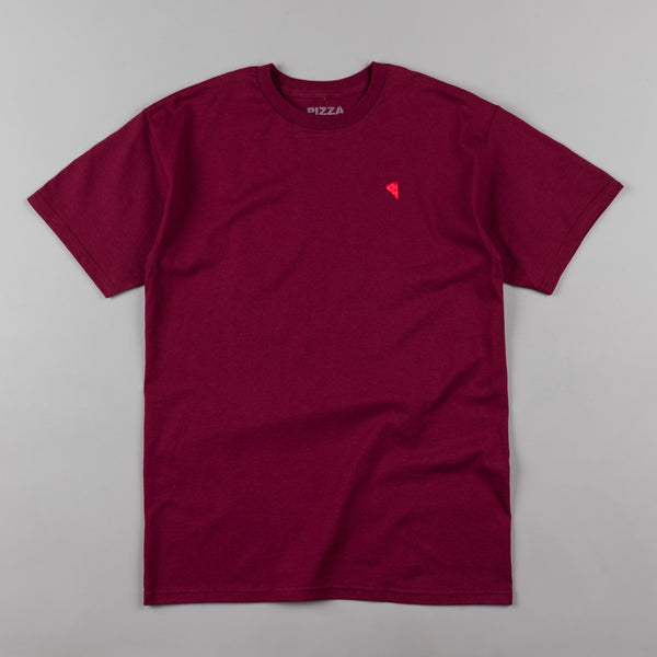 Pizza Skateboards Emoji Mono Logo T-Shirt - Burgundy