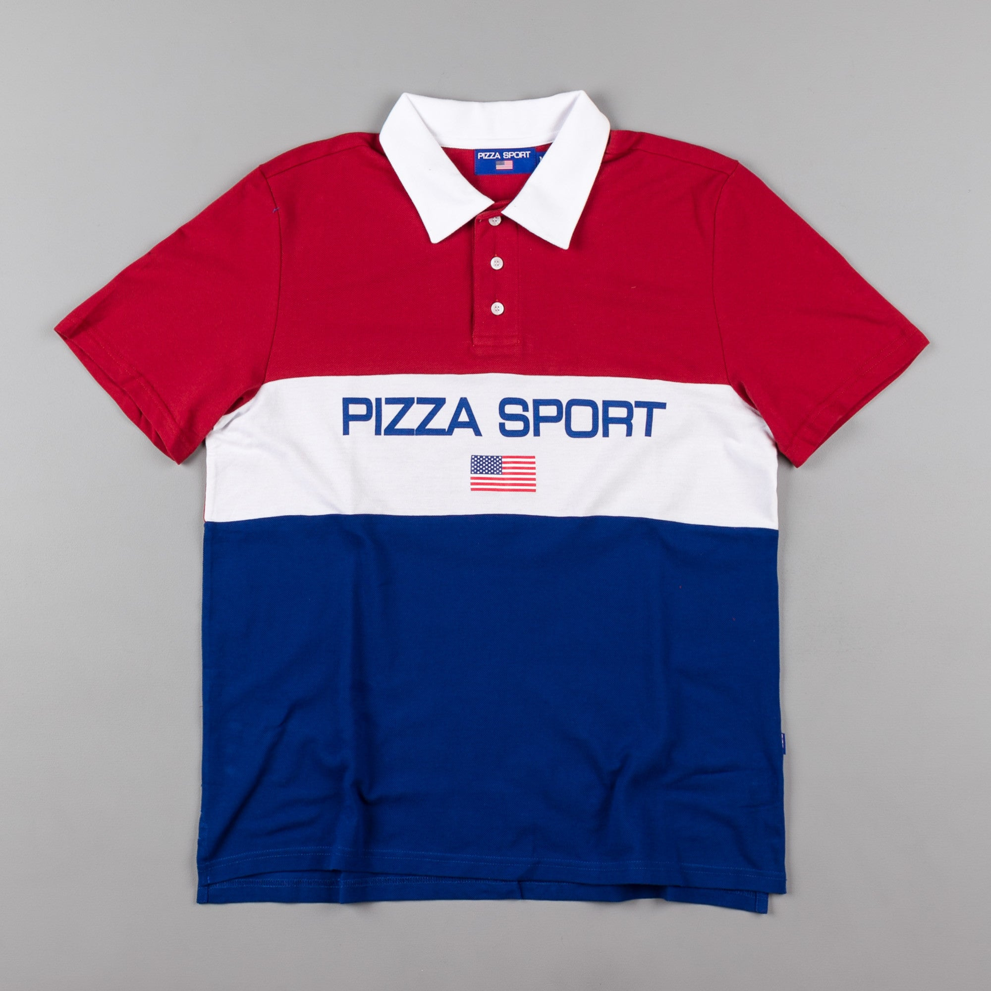 Pizza Skateboards Pizza Sport Polo Shirt - Red / White / Blue