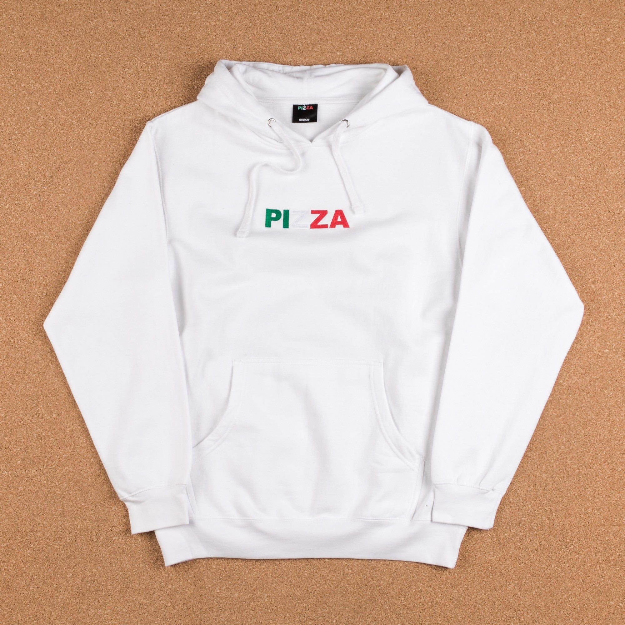 Pizza Skateboards Tri-Colour Logo Hooded Sweatshirt - White