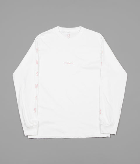 Poetic Collective Repetition Long Sleeve T-Shirt - White