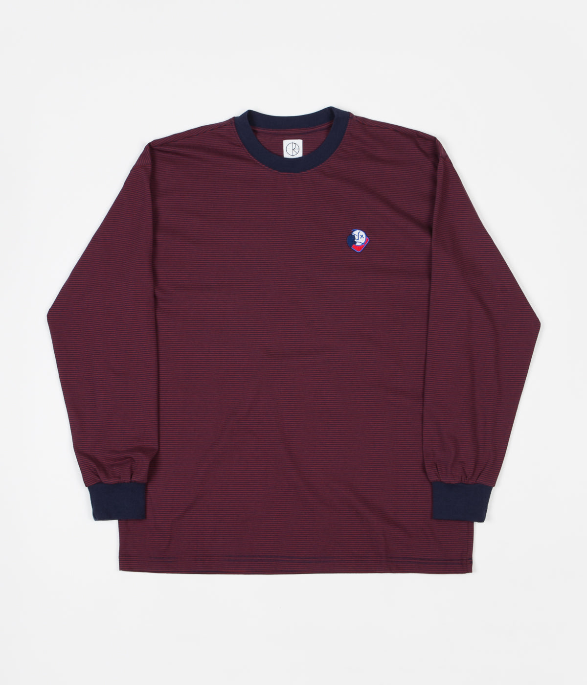 Polar Big Boy Microstripe Long Sleeve T-Shirt - Navy / Burgundy