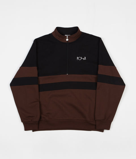 Polar Block Zip Sweatshirt - Black / Brown