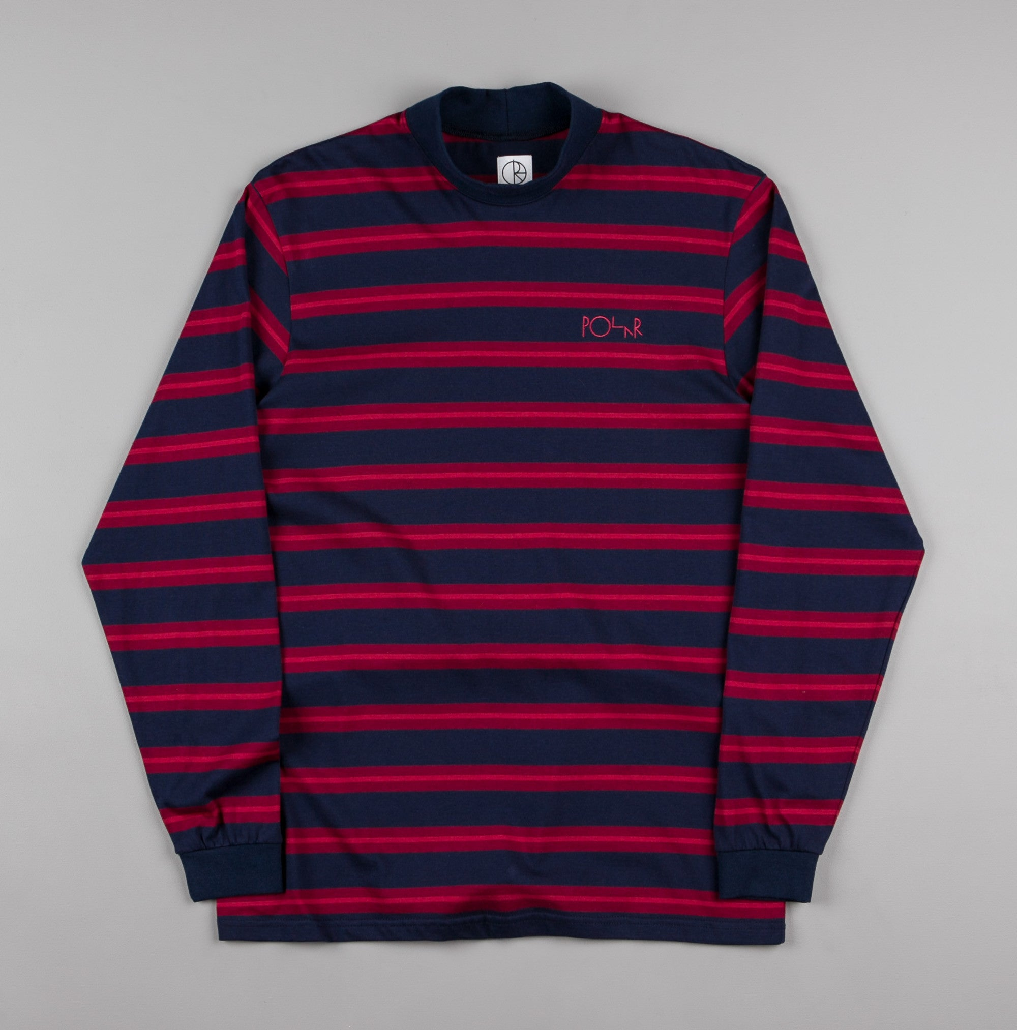 Polar Brady Mock Neck Shirt - Navy / Burgundy / Light Red