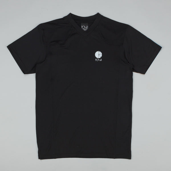 Polar Fill Logo Chest Short Sleeve V-Neck Jersey - Black