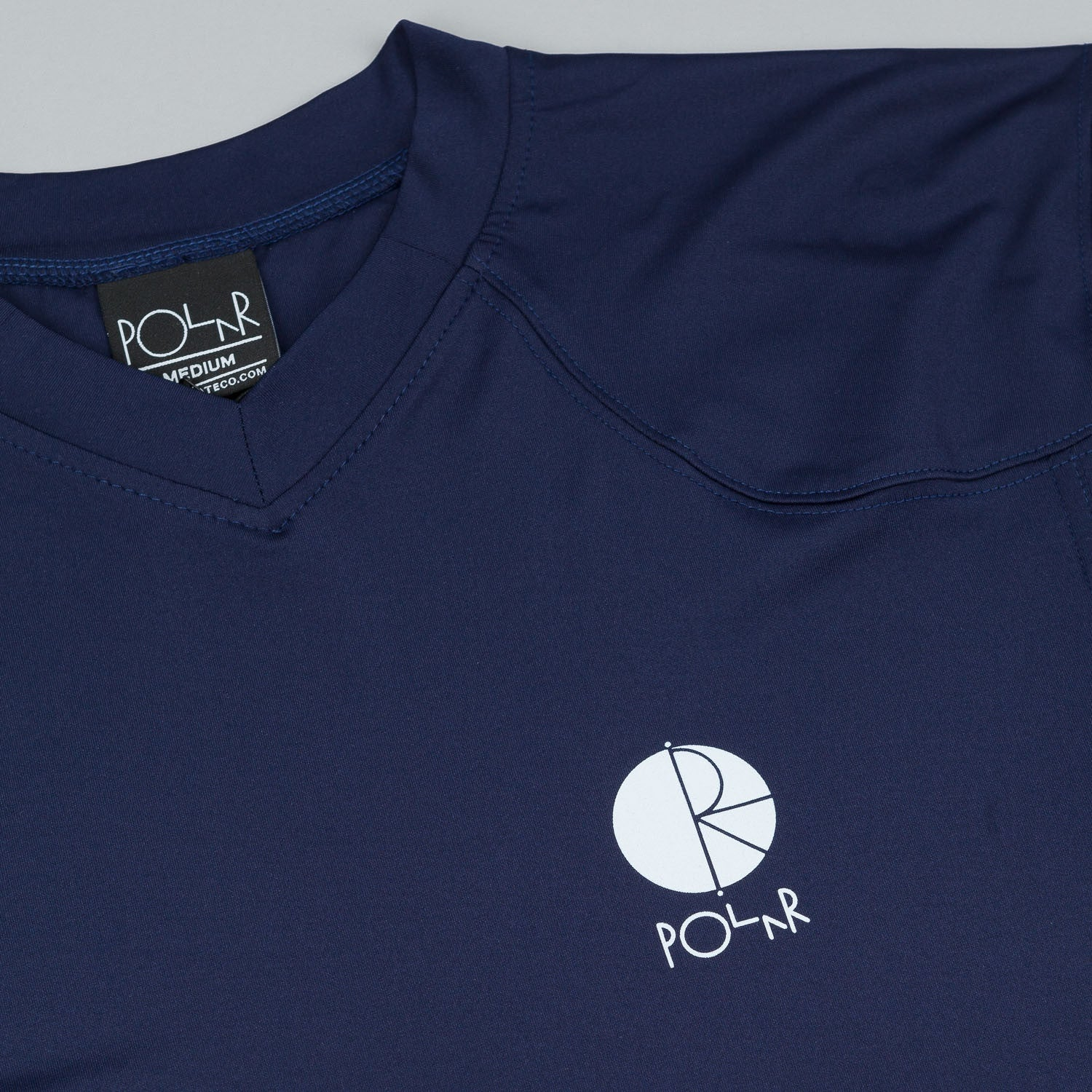 Polar Fill Logo Chest Short Sleeve V-Neck Jersey - Navy
