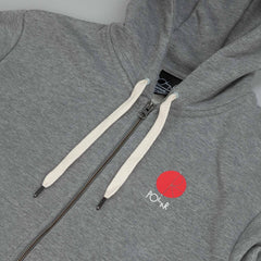 Polar Fill Logo - Chest Zip Hood Grey Heather / Red - White
