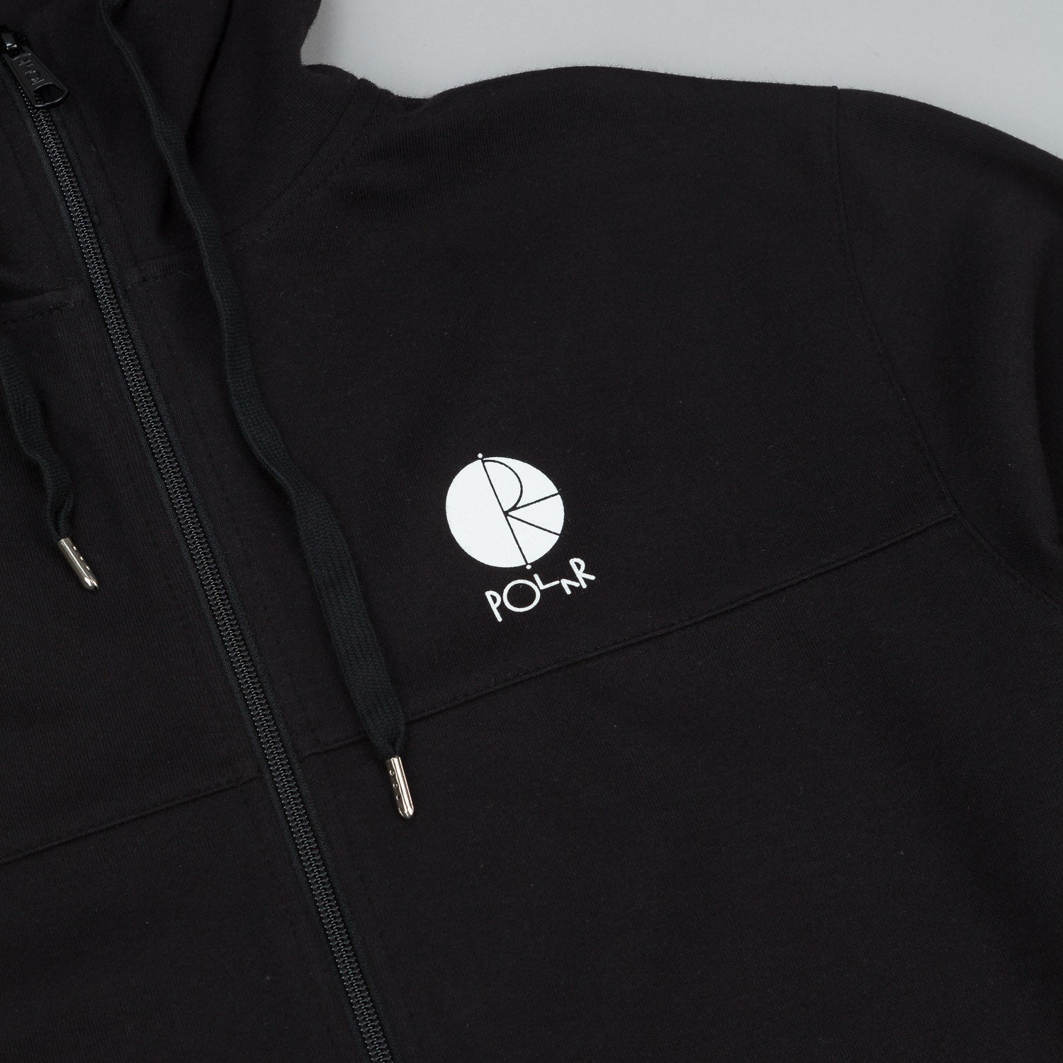 Polar Fill Logo Tec Zip Hooded Sweatshirt - Black / Black / White Fill Logo