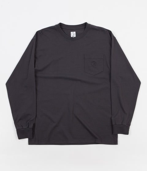 Polar Garment Dyed Long Sleeve Pocket T-Shirt - Washed Black