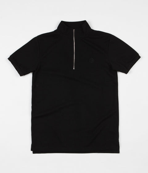 Polar Half Zip Pique Shirt - Black