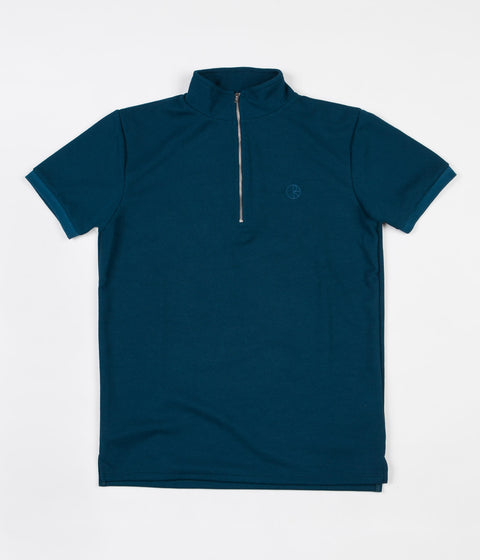 Polar Half Zip Pique Shirt - Petrol Blue