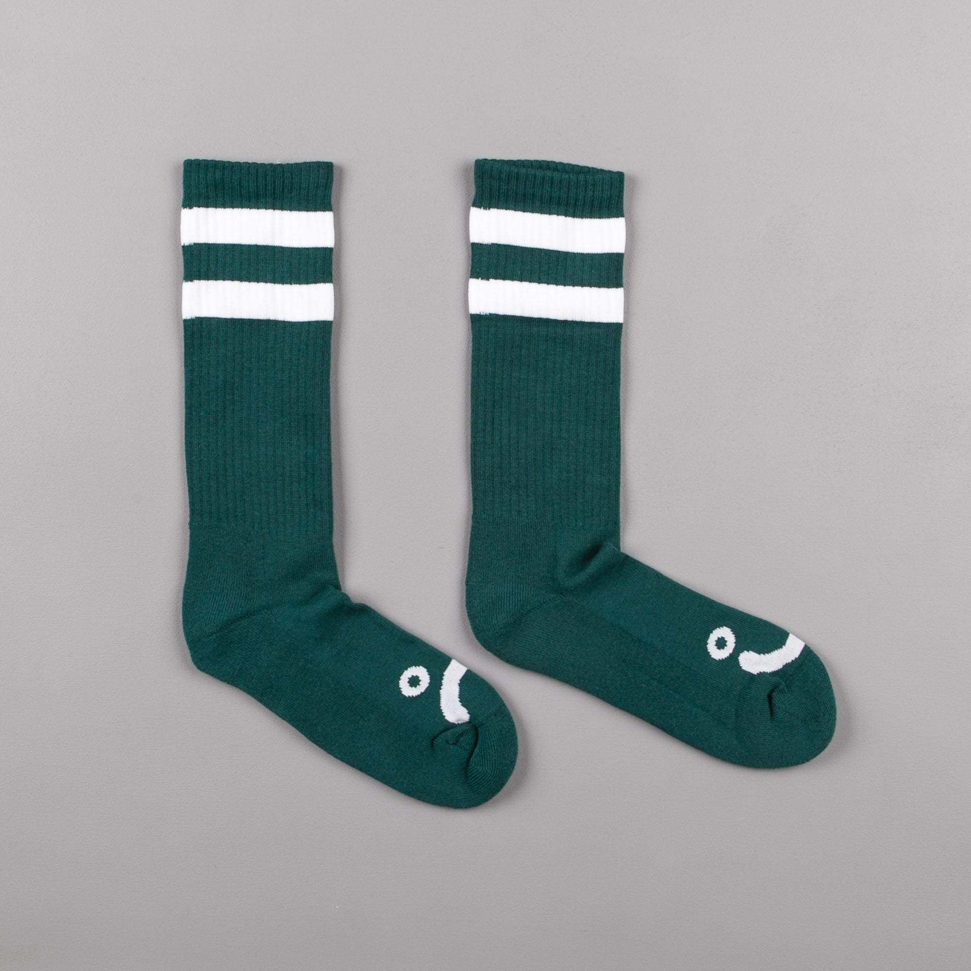 Polar Happy Sad Classic Socks - Dark Green / White