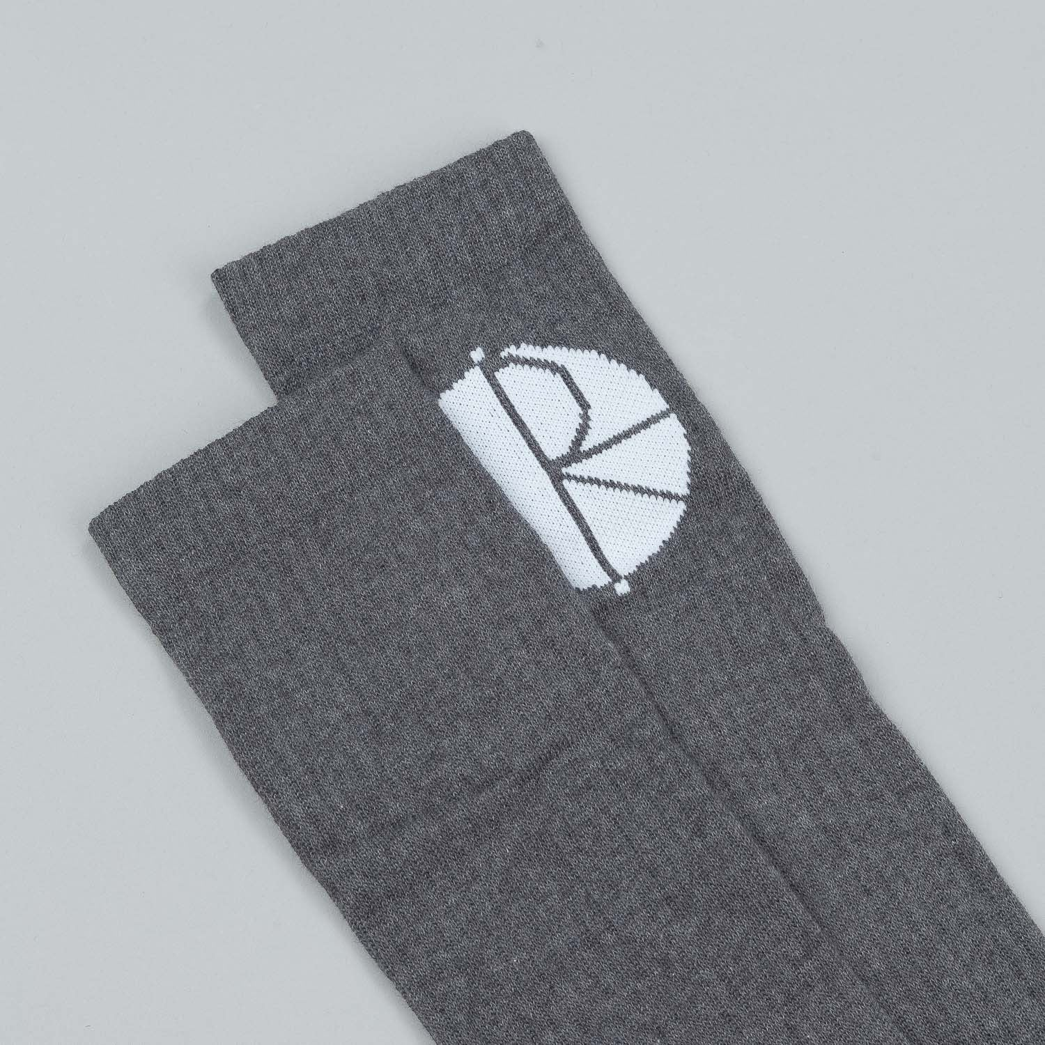 Polar Happy Sad Fill Logo Mid High Socks - Grey / White / Navy