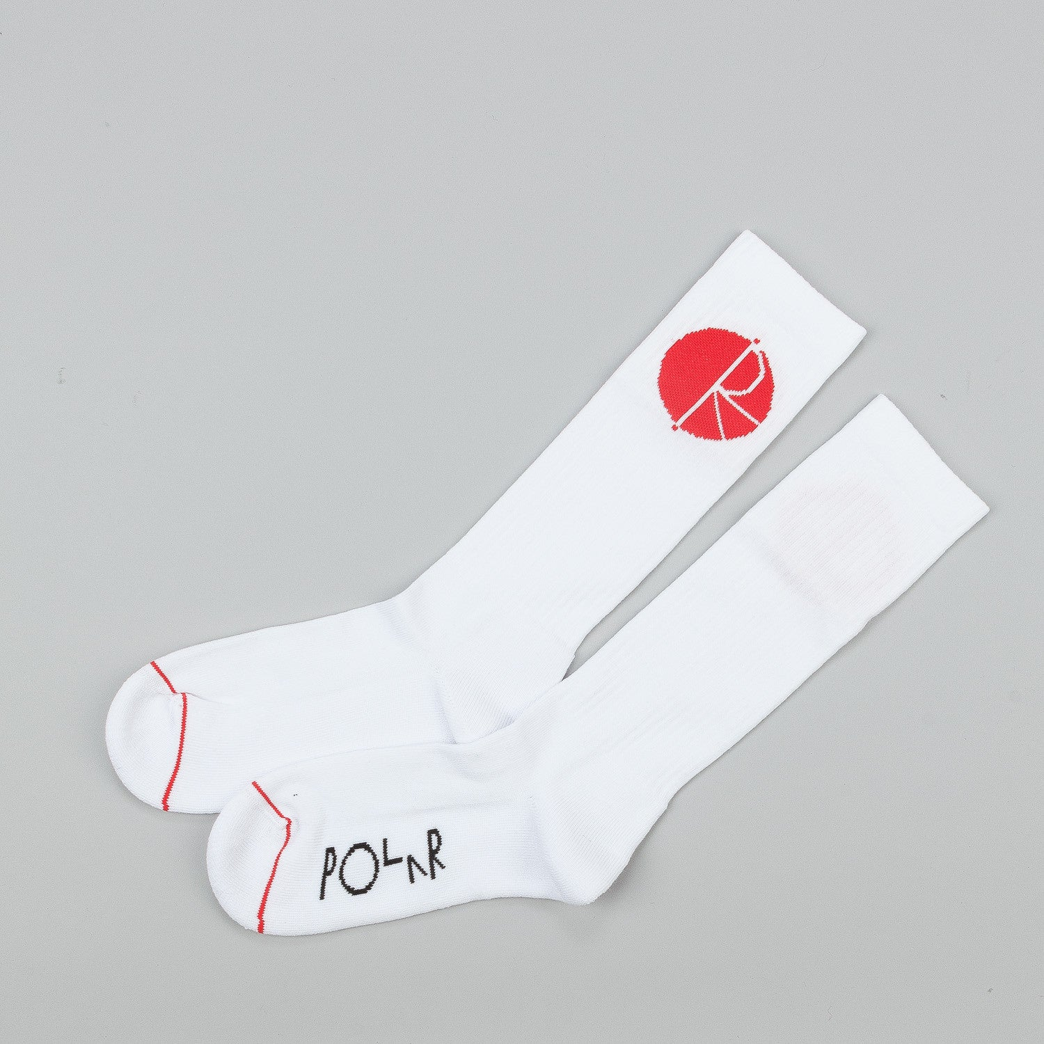 Polar Happy Sad Fill Logo Mid High Socks - White / Red / Black