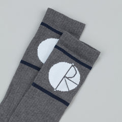Polar Happy Sad Fill Logo Stripes & Blocks Mid High Socks - Grey / Navy / White