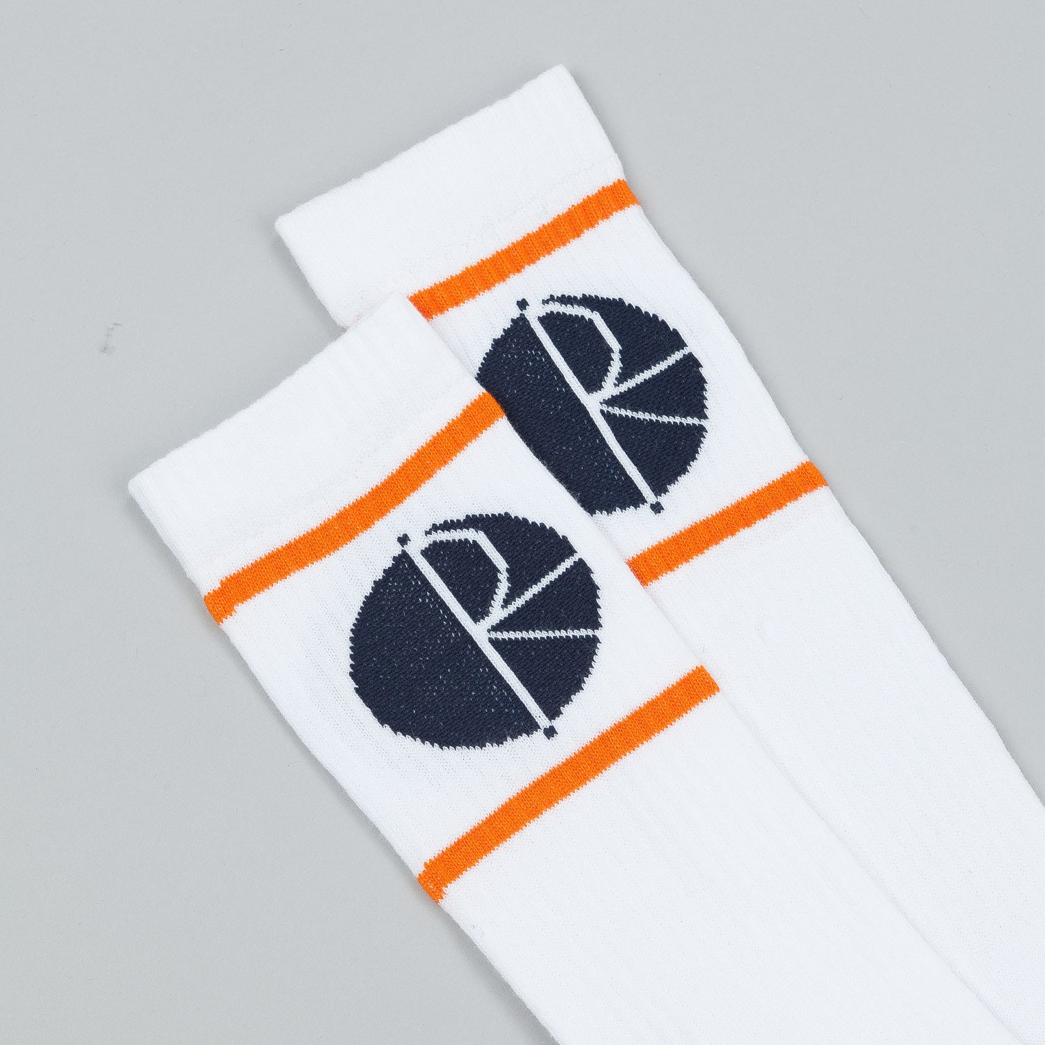 Polar Happy Sad Fill Logo Stripes & Blocks Mid High Socks - White / Orange / Navy