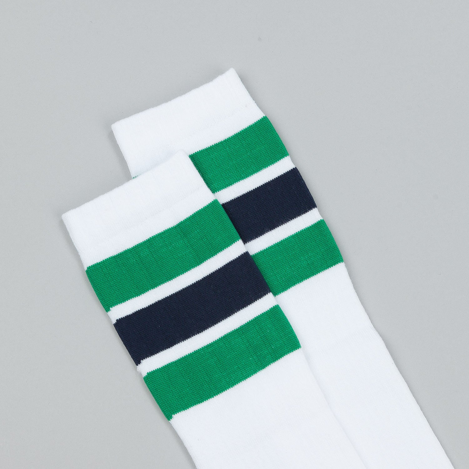 Polar Happy Sad Knee High Socks - White / Green / Navy