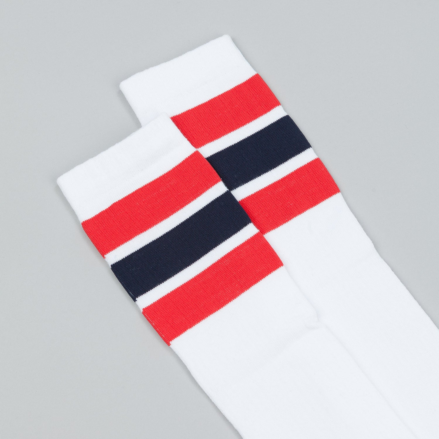 Polar Happy Sad Knee High Socks - White / Red / Navy