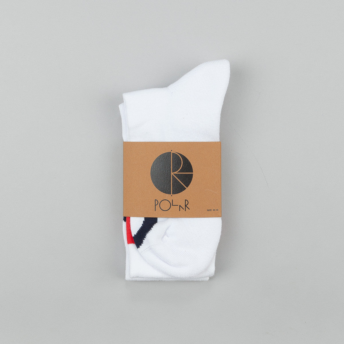 Polar Happy Sad Knee High Socks - White / Red / Orange / Navy