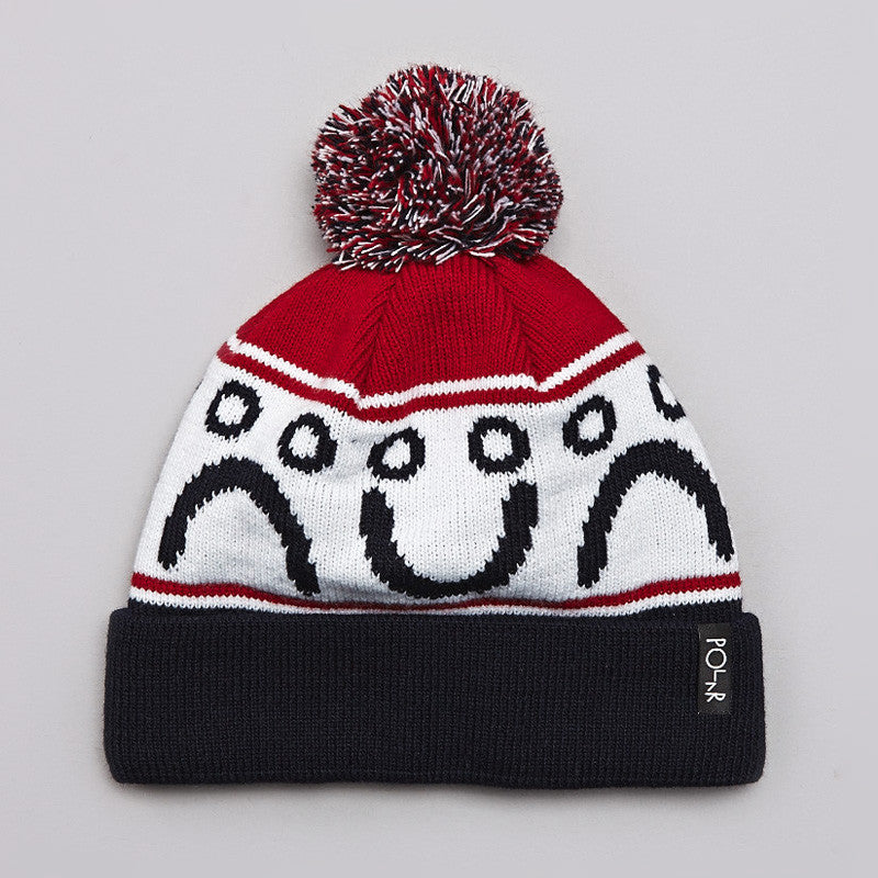Polar Happy / Sad Pom Pom Beanie Navy / Red