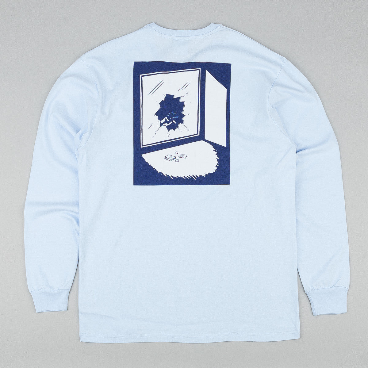 Polar Jacob's Corner Fuck It Long Sleeve T-Shirt - Pastel Blue / Navy / White