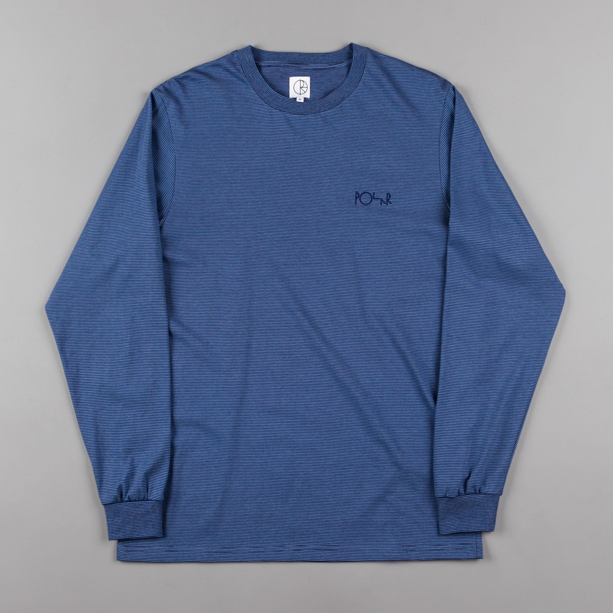 Polar Micro Stripe Long Sleeve T-Shirt - Navy / Dusty Blue