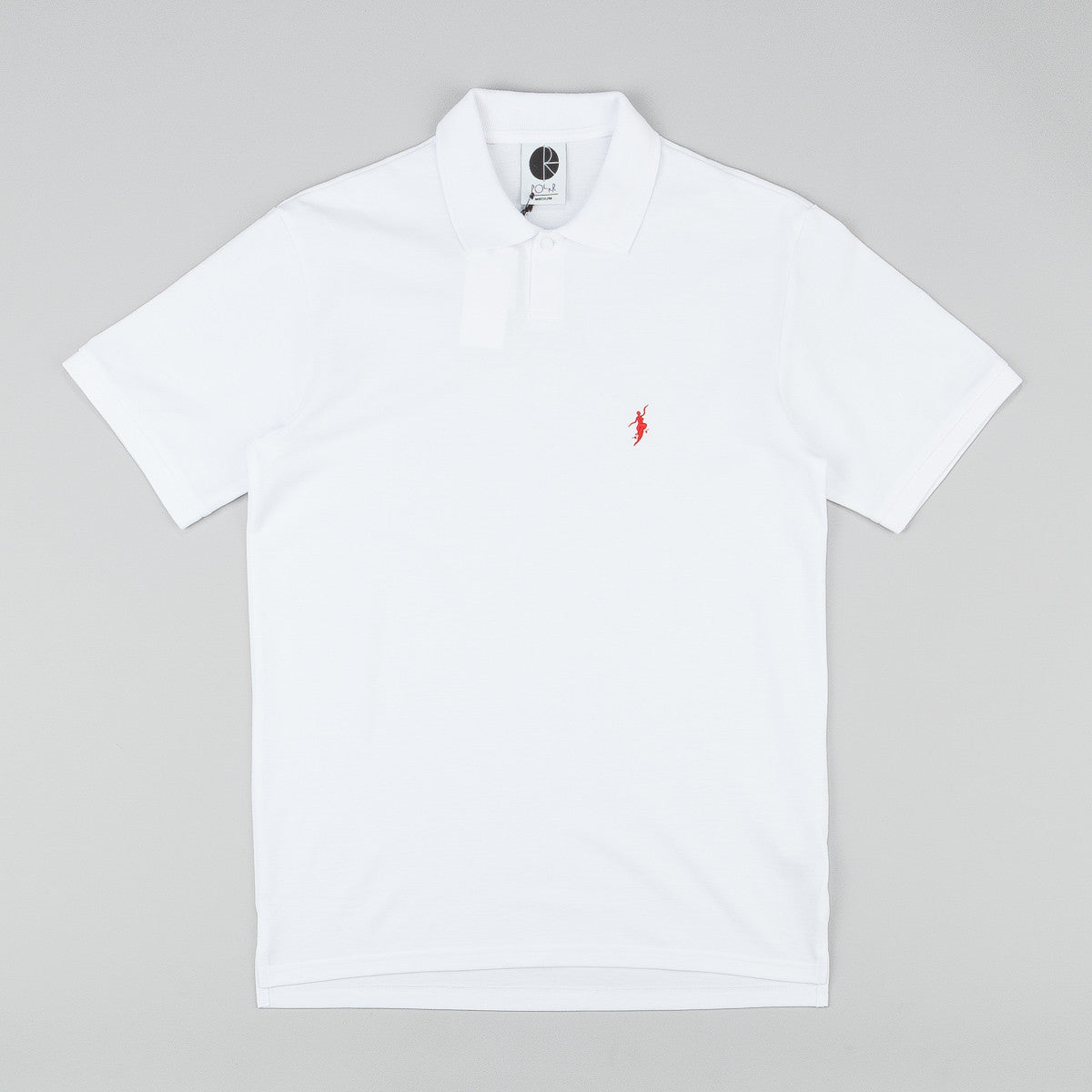 Polar No Comply Pike Polo Shirt - White / Red