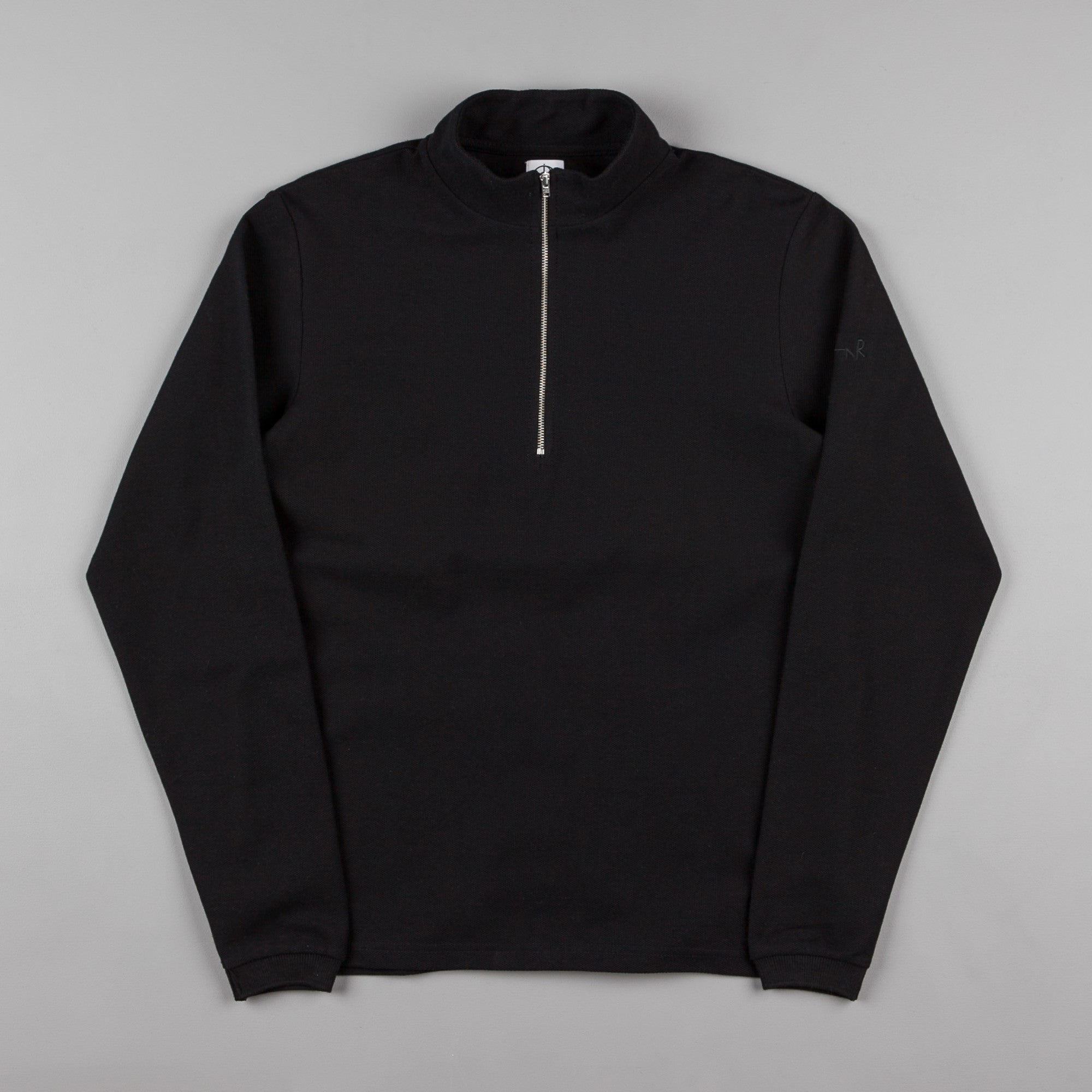 Polar Pique Zip Neck Shirt - Black