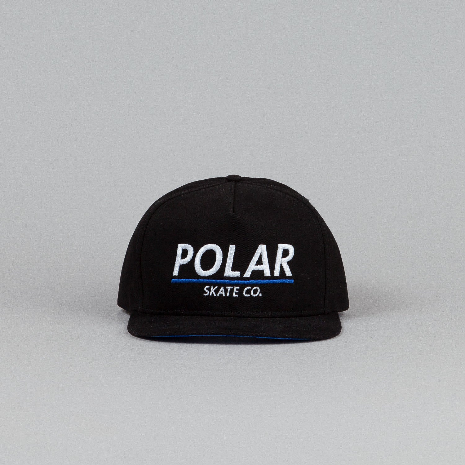 Polar Script Logo Snapback Cap Black / Blue Satin / White - Blue Embroidery