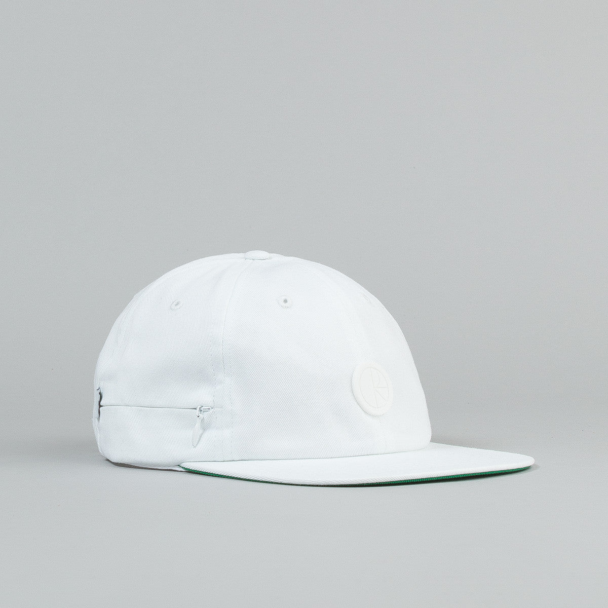 Polar Stash Pocket Cap - White / Green Bottom Brim / White