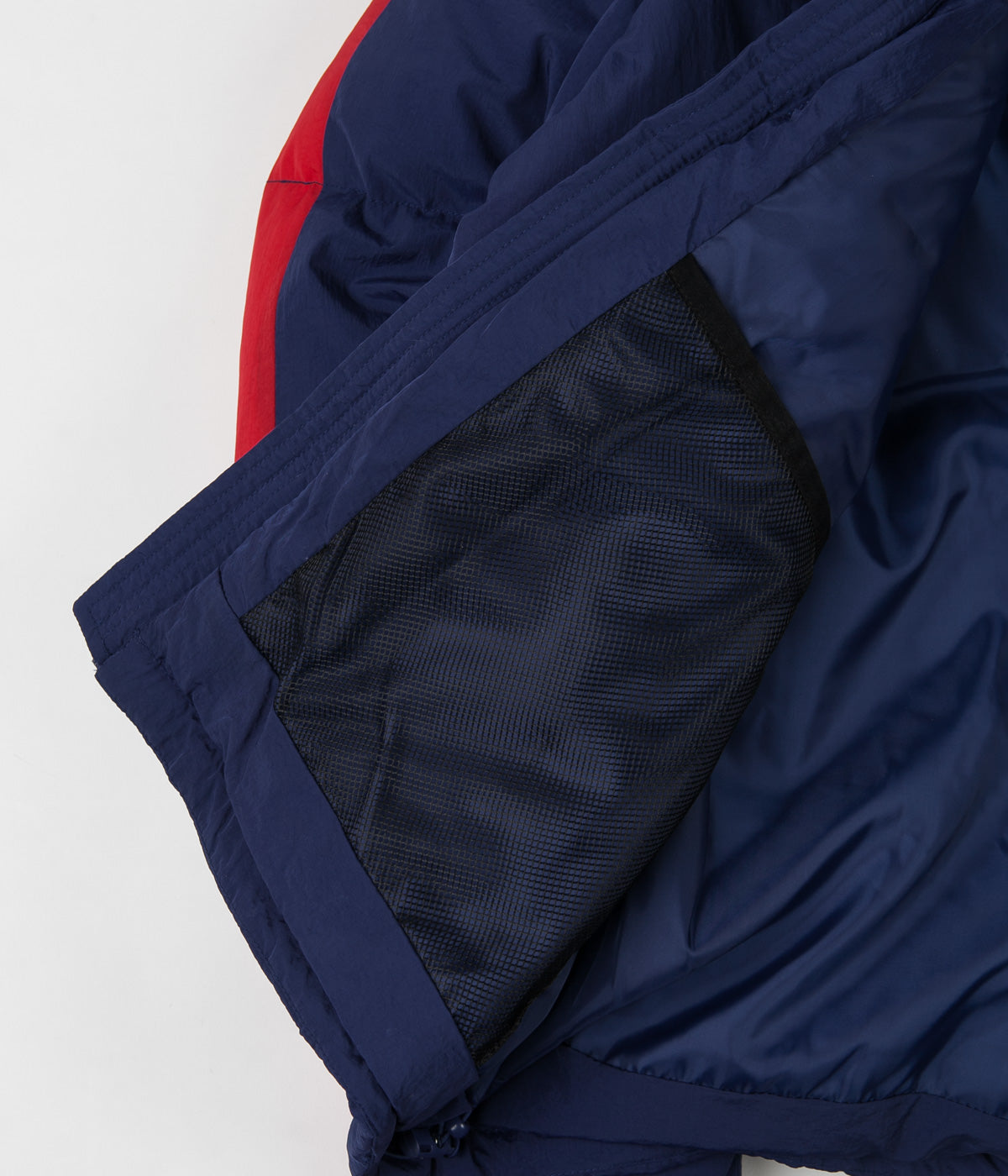 Polar Stripe Puffer Jacket - Navy / Red