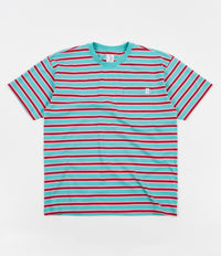 Polar Striped Pocket T-Shirt - Mint / Coral Red