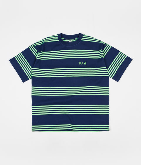 Polar Striped Surf T-Shirt - Dark Blue / Gecko Green