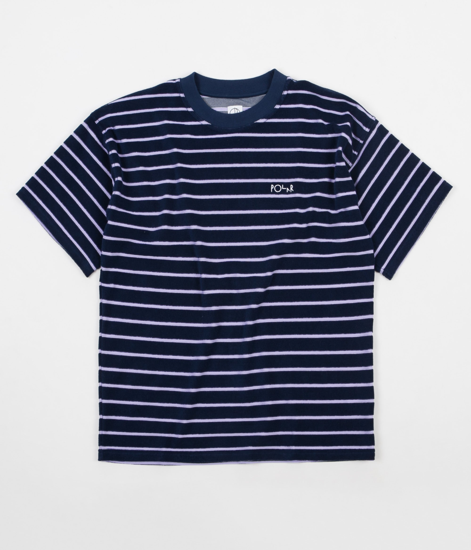 Polar Striped Terry Surf T-Shirt - Navy / Violet