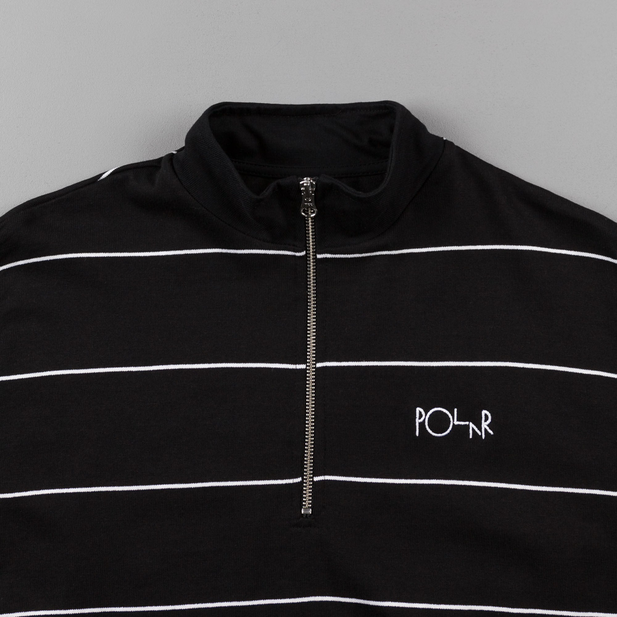 Polar Striped Zip Neck Sweatshirt - Black