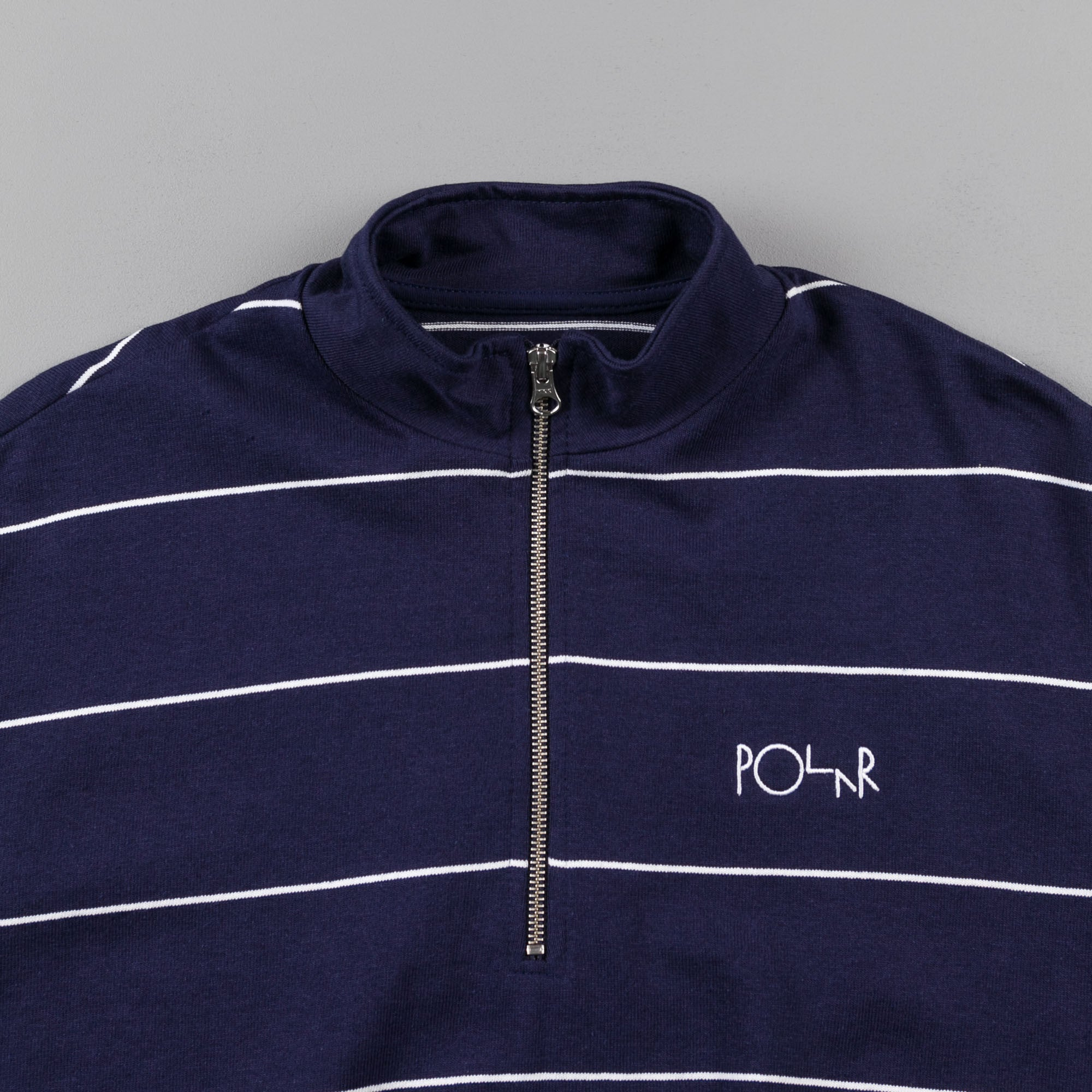 Polar Striped Zip Neck Sweatshirt - Navy