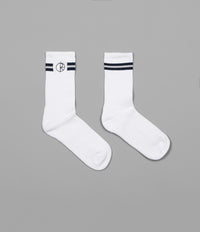 Polar Stroke Logo Socks - White / Navy