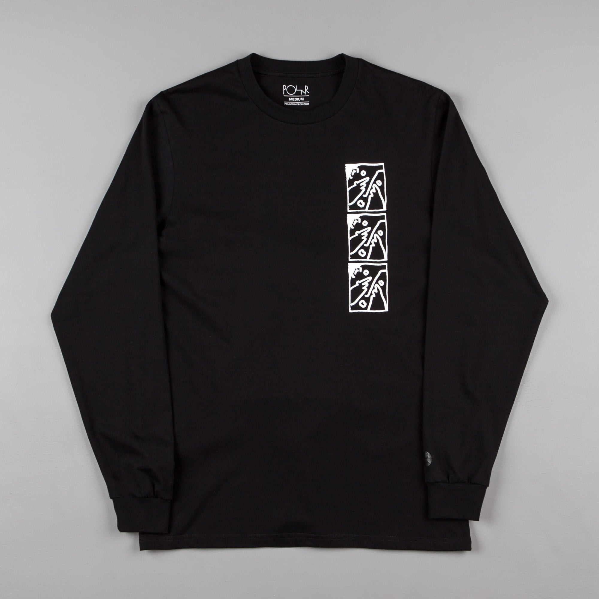 Polar Three Faces Long Sleeve T-Shirt - Black / White