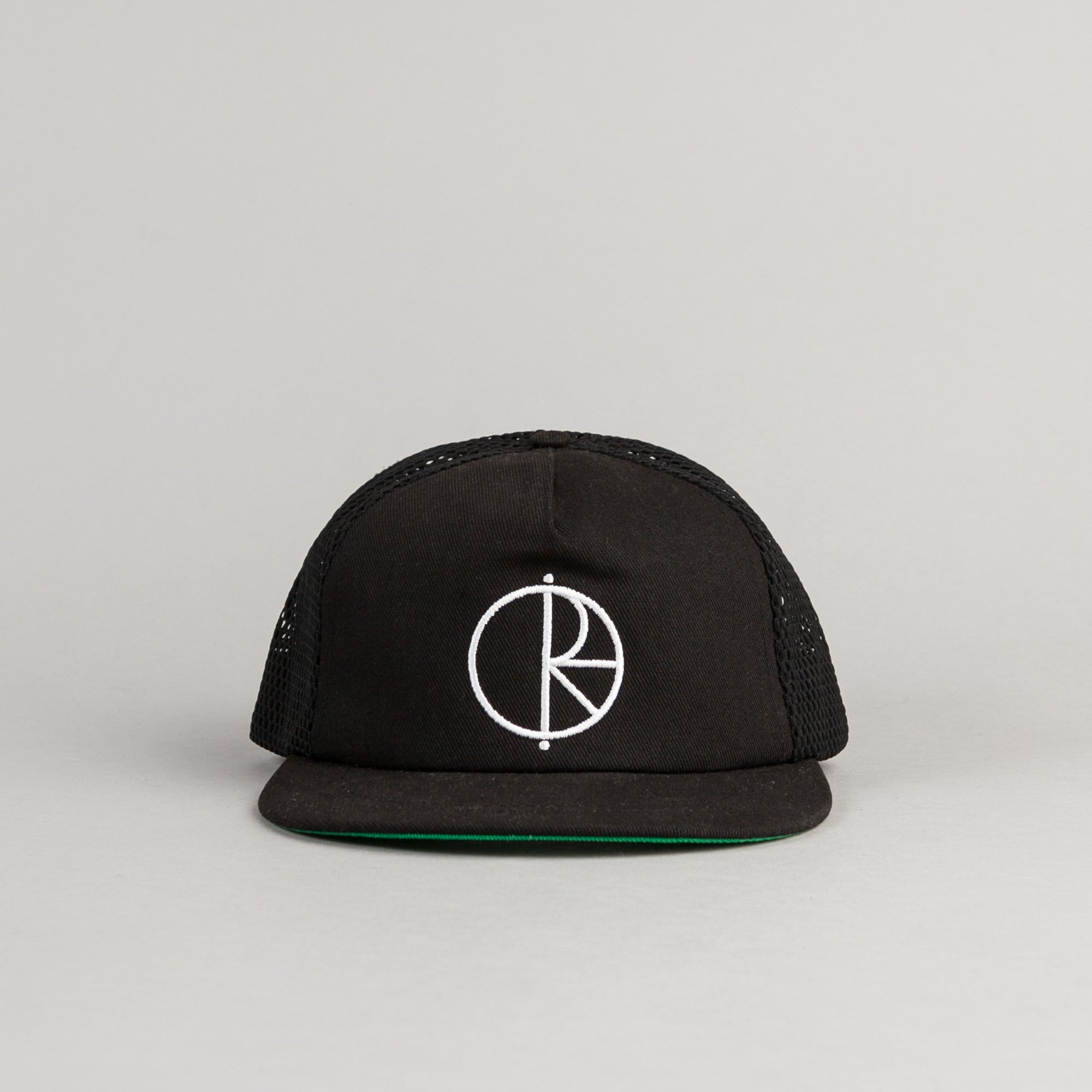 Polar Trucker Snapback Cap Black / Green Bottom Brim