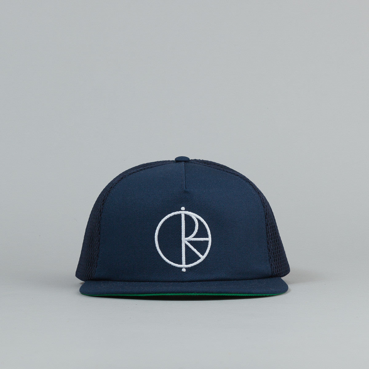 Polar Trucker Snapback Cap Navy / Green Bottom Brim