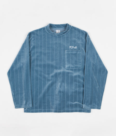 Polar Velour Pullover Sweatshirt - Grey Blue