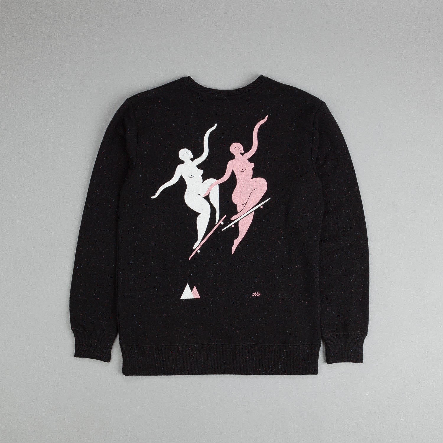 Polar Wallie & No Comply Sweatshirt Black / White - Soft Pink