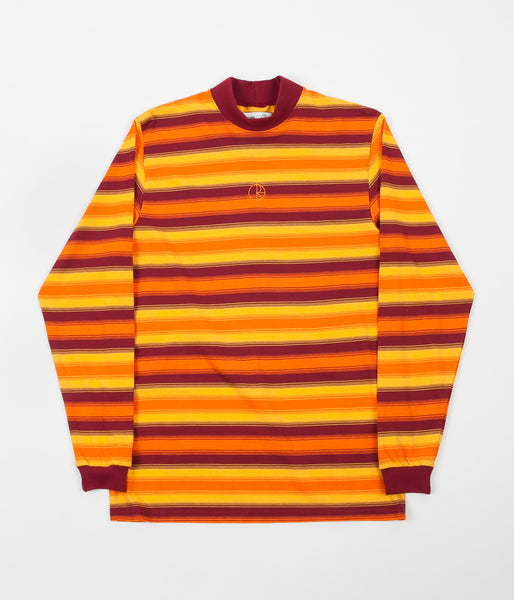 Polar X Très Bien Striped Mockneck Long Sleeve T-Shirts - Spritz Orange