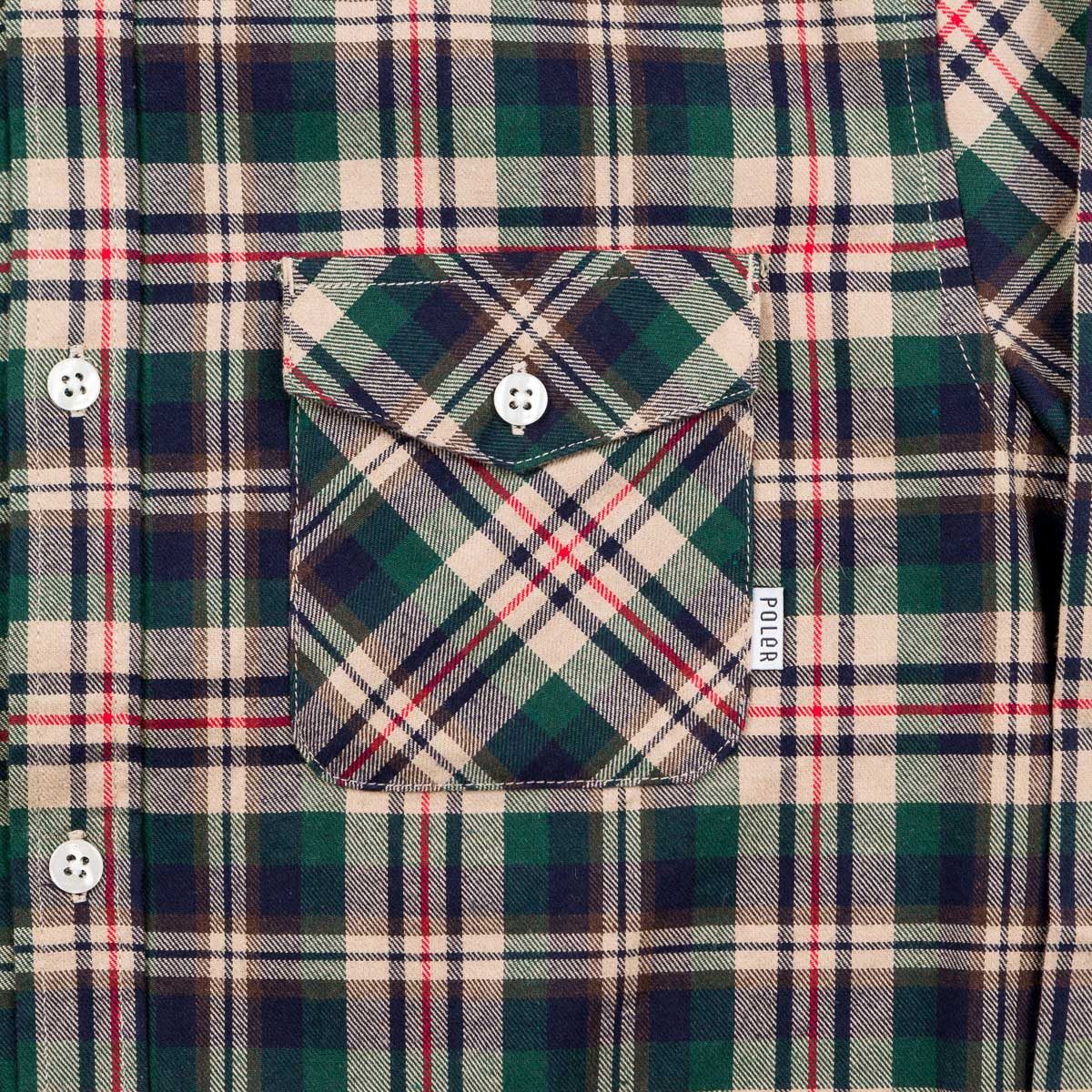 Poler Beefalo Button Up Shirt - Green Plaid