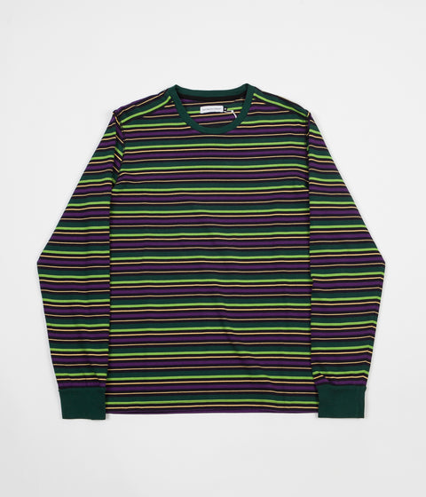 Pop Trading Company Alpine Stripe Logo Long Sleeve T-Shirt - Eggplant